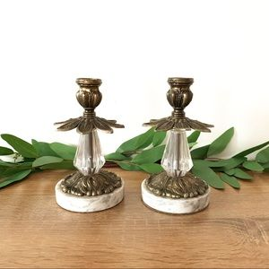 Vintage Ornate Brass Glass & Marble Candlesticks